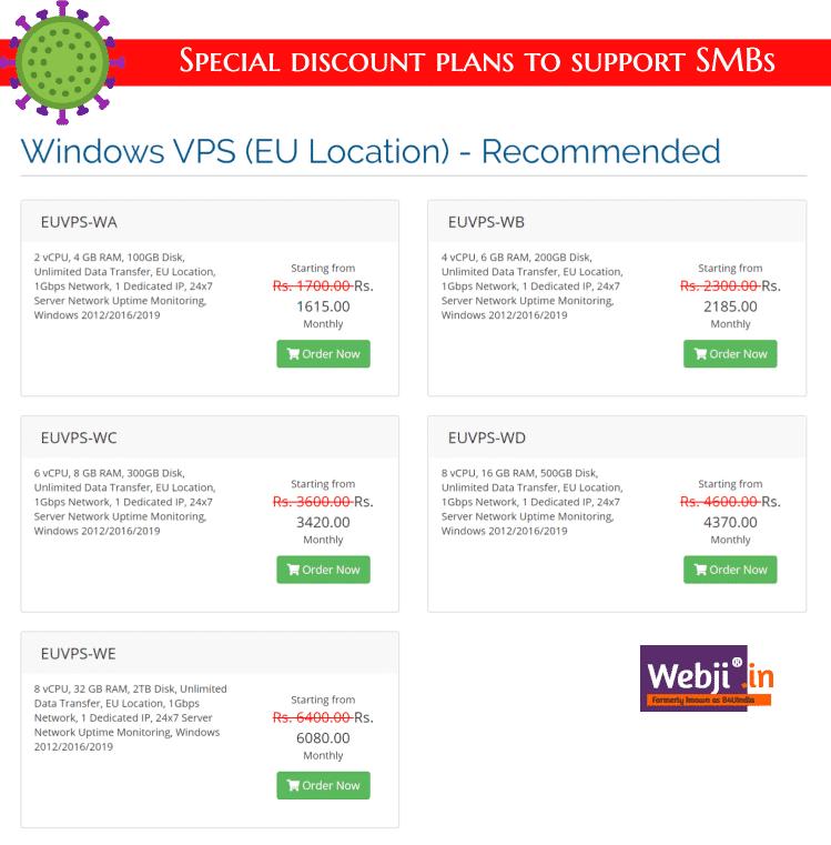 Windows VPS Plans WebJi®